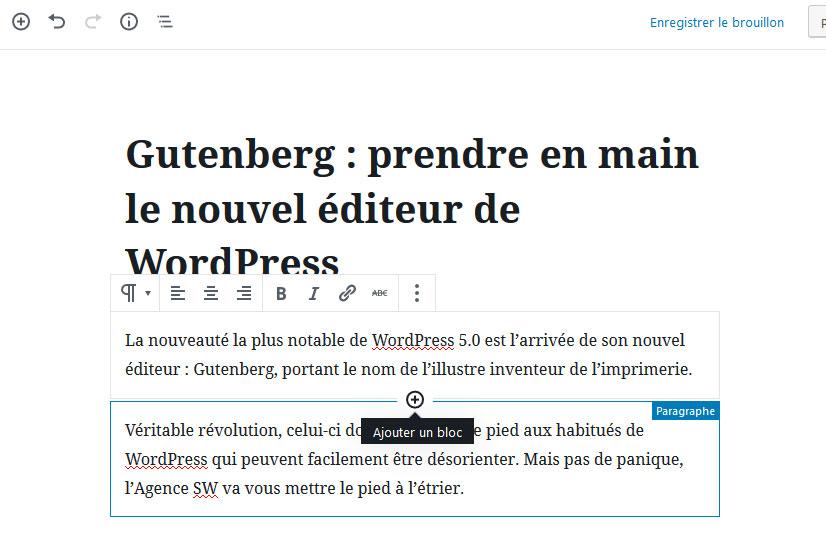 Ajouter bloc de contenu Gutenberg WordPress