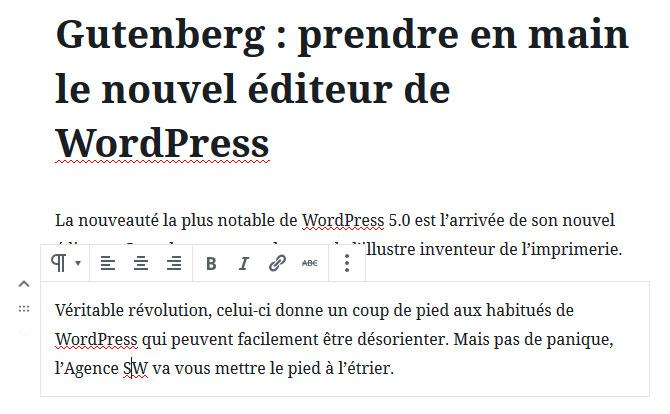 Déplacer bloc de contenu Gutenberg WordPress