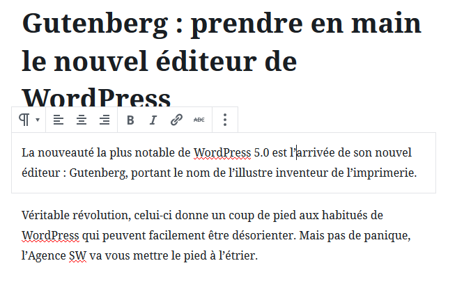Mise en forme texte Gutenberg WordPress