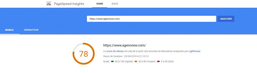 vitesse de chargement mobile WordPress
